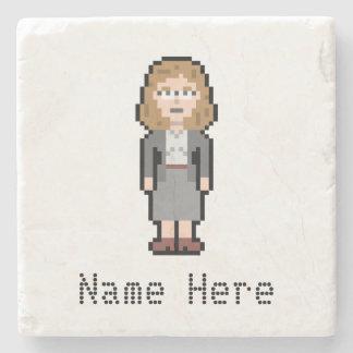 Custom Pixel Female Lawyer Stone Coaster