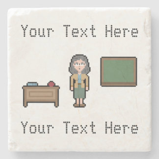 Custom Pixel Female Teacher Stone Beverage Coaster