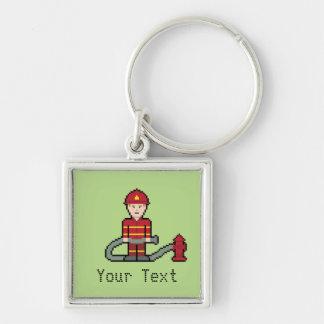 Custom Pixel Fireman Key Ring