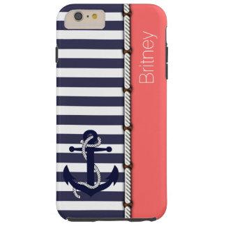 Custom Preppy Retro Boat Anchor Stripes Pattern Tough iPhone 6 Plus Case