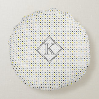 Custom Present Monogrammed Polka Dots Round Pillow