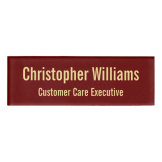 Custom Professional Elegant Faux Gold Magnetic ID Name Tag