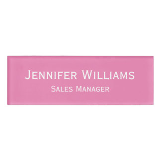 Custom Professional Executive Modern Pink Magnetic Name Tag