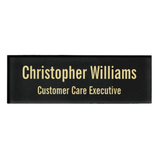 Custom Professional Faux Gold Black Magnetic ID Name Tag
