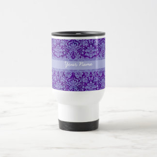 Custom Purple Damask Travel Mug