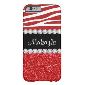 Custom Red Glitter Zebra Stripes iPhone 6 Case