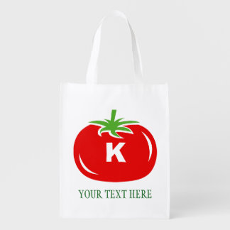 Custom red tomato reusable grocery shopping bags