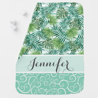 Custom Retro Hip Tropical Green Palm Leafs Pattern Baby Blanket