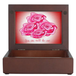 Custom roses bouquet with personalized text memory boxes