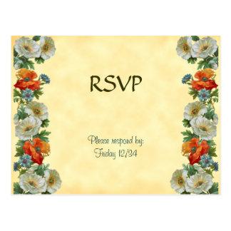 Custom RSVP Poppies Cornflowers Postcard