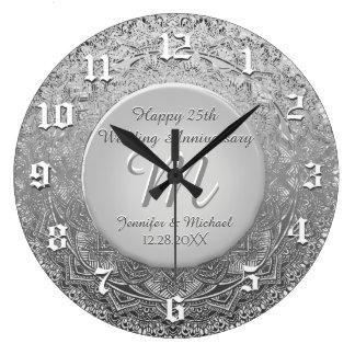 Custom Silver Monogram Anniversary Clock