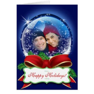 Custom Snow Globe Christmas Photo Xmas Holiday Greeting Card