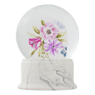 Custom Snow Globe with Floral Motif Snow Globes