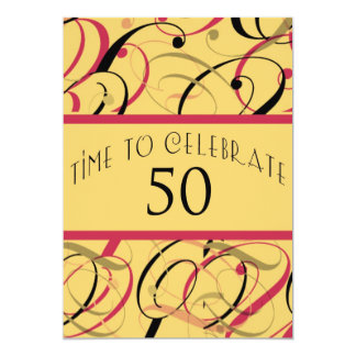 Custom Swirls 50th Birthday Party Invitation