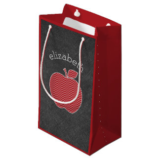 Custom Teacher Apple with Trendy Chevron Pattern Small Gift Bag