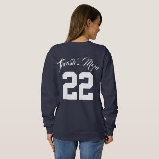 Custom Text and Jersey Number Sports Mum Sweatshirt