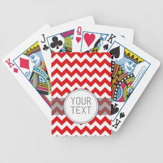 Custom Text or Monogram on Red Chevrons Card Decks