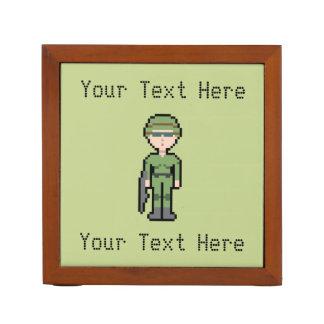 Custom Text Pixel Female Soldier Pencil/Pen Holder