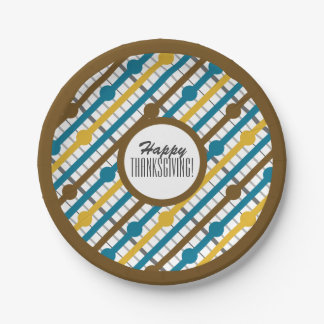 Custom Text Retro Stripes & Circles (Thanksgiving) 7 Inch Paper Plate
