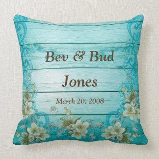 Custom Throw Pillow Anniversary Turquoise Flowers