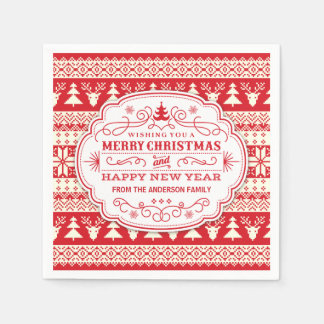 Custom Ugly Sweater Christmas Party Napkins Paper Serviettes