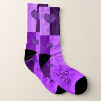 Custom Ultra Violet Heart Socks (Women's US 10-14)