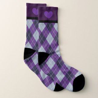 Custom Ultra Violet Plaid Socks (Women's 10-14)
