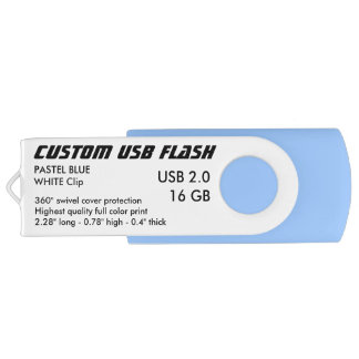 Custom USB 2.0 Flash 16GB - White Clip, P. BLUE USB Flash Drive
