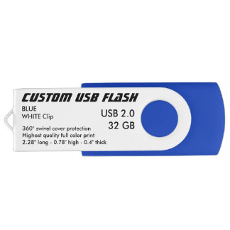 Custom USB 2.0 Flash 32GB - White Clip, BLUE USB Flash Drive
