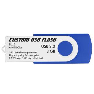 Custom USB 2.0 Flash 8GB - White Clip, BLUE USB Flash Drive