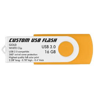 Custom USB 3.0 Flash 16GB - White Clip, GOLD USB Flash Drive
