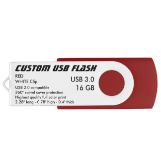 Custom USB 3.0 Flash 16GB - White Clip, RED USB Flash Drive