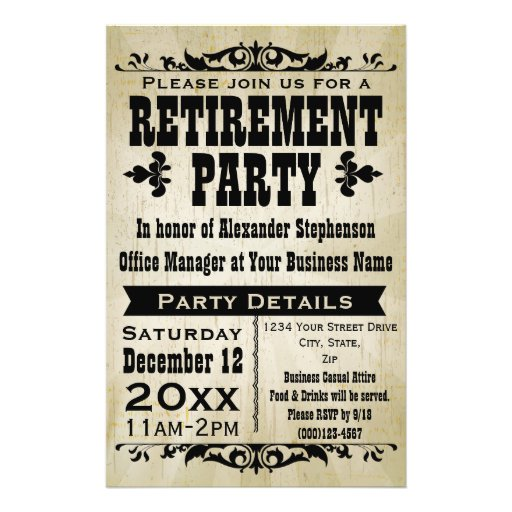Custom Vintage Country Retirement Party Invitation Flyer Design