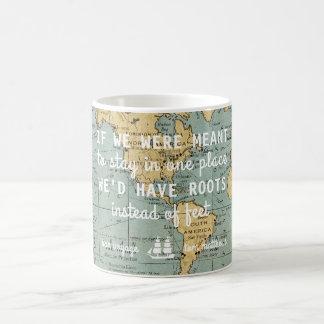 Custom Vintage Map Travel Quotes   Mug