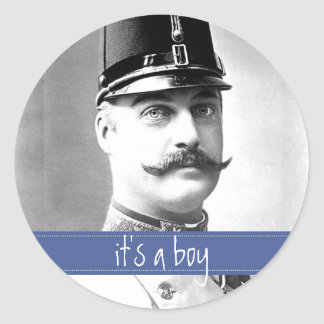 Custom Vintage Mustache / Moustache Baby Shower Classic Round Sticker