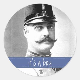 Custom Vintage Mustache / Moustache Baby Shower Round Sticker