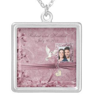 Custom Vintage Pink Floral Photo Wedding Gift Square Pendant Necklace