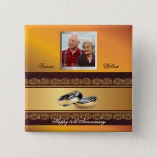 Custom Wedding Anniversary Gold 15 Cm Square Badge