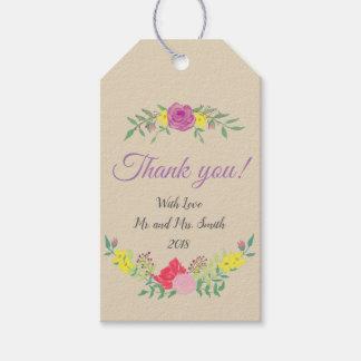 Custom Wedding Favor Gift Tag Watercolor Flowers