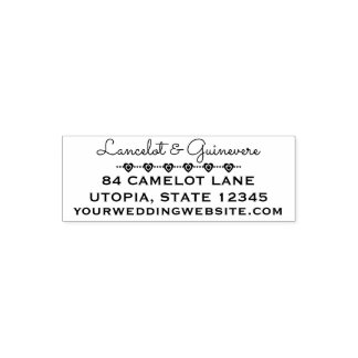 Custom Wedding Hearts | Return Address 4 Lines Self-inking Stamp