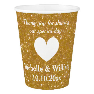 Custom wedding monogram faux gold print paper cups