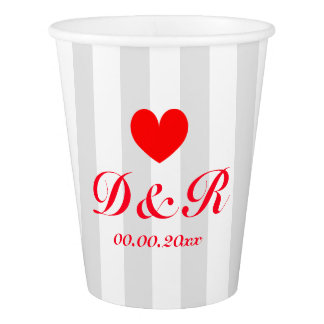Custom wedding monogram red grey striped paper cup