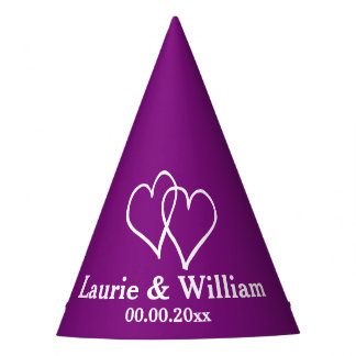 Custom wedding party hats with interlocking hearts