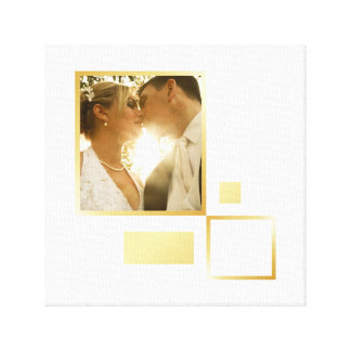 custom wedding photo template, gold foil design canvas print