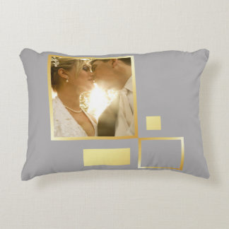 custom wedding photo template, gold foil design decorative cushion