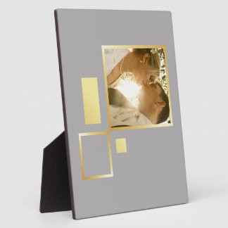 custom wedding photo template, gold foil design plaque