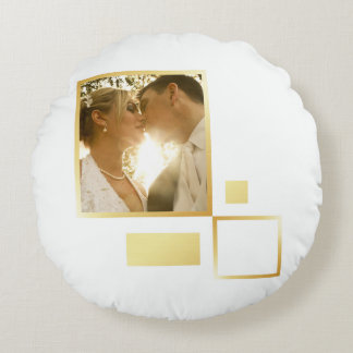 custom wedding photo template, gold foil design round cushion