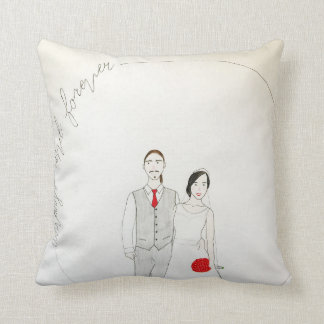 Custom wedding portrait throw cushion
