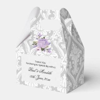Custom Weddings Grey Damask Gable Favour Box