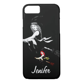 Custom witches on a broomstick flying in the night iPhone 7 case